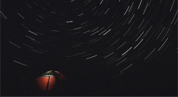 スタートラック 星空の光のトレイルを撮影する機能